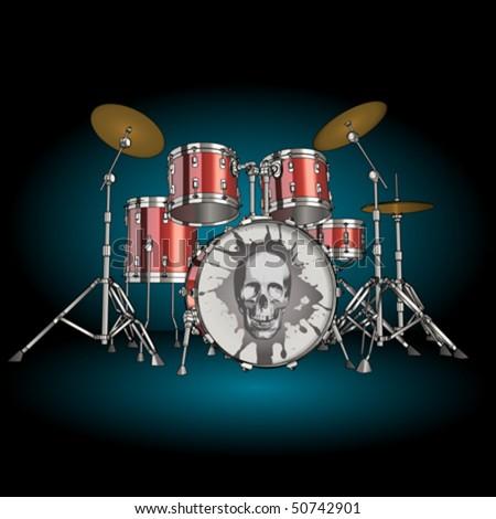 Vector drum kit - stock vector