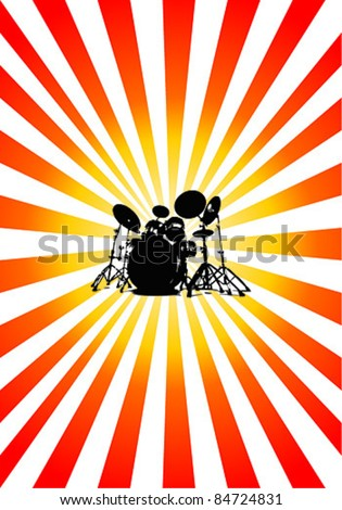 Vector Drum set with color sunburst rays - stock vector