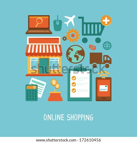 Vector e-commerce icons and signs in flat style - online shopping and internet - stock vector