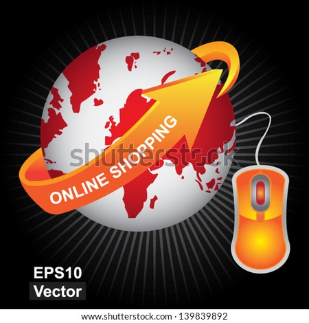 Vector : E-Commerce, Internet, Online Marketing, Online Business or Technology Concept Present By Red Earth With Orange Online Shopping Arrow and Orange Mouse in Dark Background - stock vector