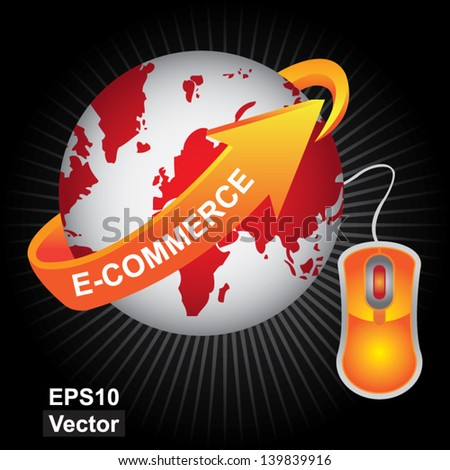 Vector : E-Commerce, Internet, Online Marketing, Online Business or Technology Concept Present By Red Earth With Orange E-Commerce Arrow and Orange Mouse in Dark Shiny Background - stock vector