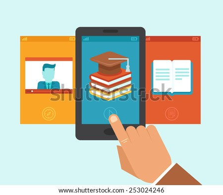 Vector e-learning and education app on the screen of mobile phone - illustration in flat style - stock vector