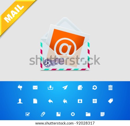 Vector E-mail and messaging icon set - stock vector