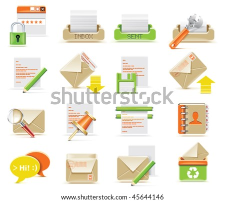 Vector e-mail icon set - stock vector