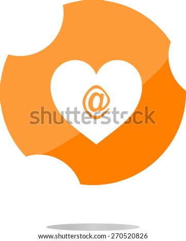 vector e-mail internet icon button, web sign dog on love heart, flat vector web icon isolated on white - stock vector