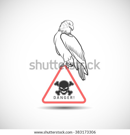 Vector eagle on danger symbol - stock vector