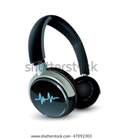 vector earphones - stock vector