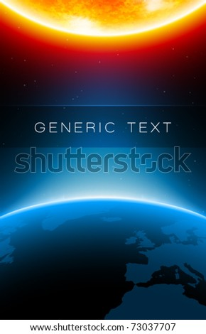 Vector Earth and Sun - stock vector