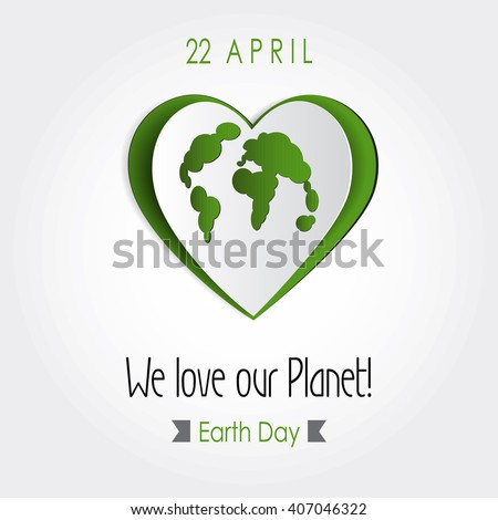 Vector earth day poster design love to earth concept map illustration protect world