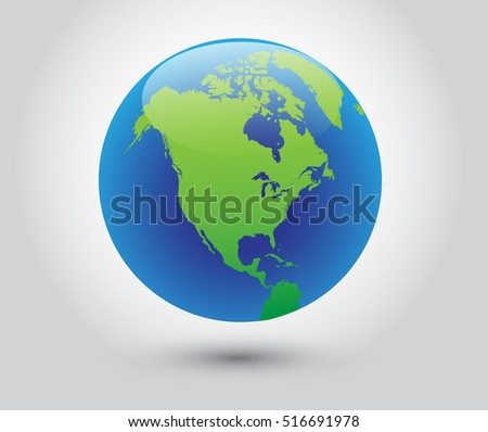 Vector earth globe icon world map stock vector royalty free vector earth globe icon world with map of north america gumiabroncs Gallery