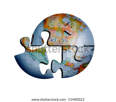 Vector Earth Puzzle, See Photo In My Portfolio - stock vector