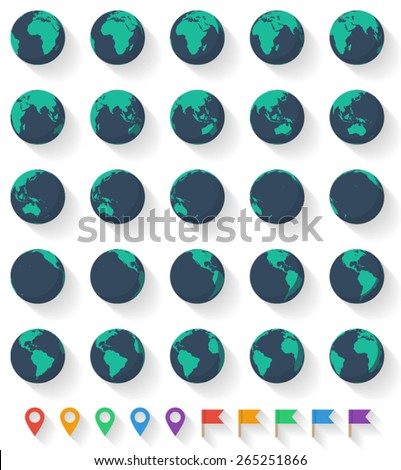 Vector Earth Set. Twenty five Earth globes from different angles and ten pointer icons. Easily edited with good file structure. - stock vector