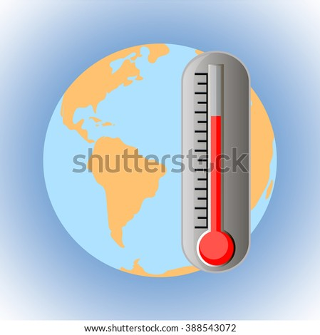 Vector earth with thermometer, global warming