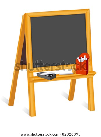 vector - Easel Blackboard with box of chalk and eraser. Copy space to add your own text, drawings, doodles. EPS8 organized in groups for easy editing. - stock vector