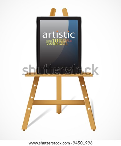 Vector easel with tablet pc:digital art concept