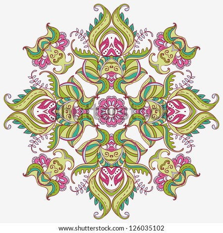 Vector East Ornamental Round Lace pattern. Indian Carpet - stock vector