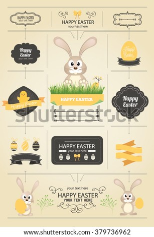 Vector Easter Bunny and eggs - stock vector