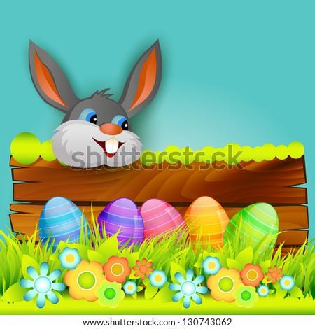 vector easter bunny background design - stock vector