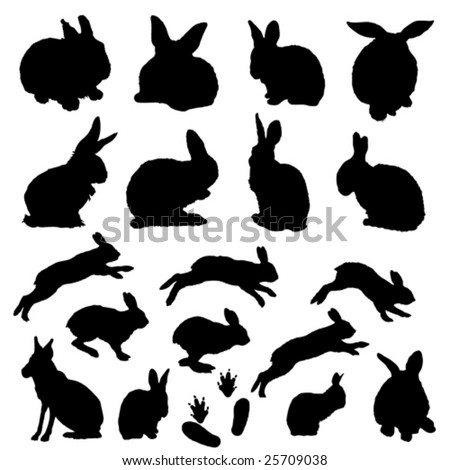 vector easter bunny collection - stock vector