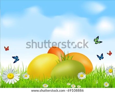vector Easter eggs on a green field with daisies and a blue sky - stock vector