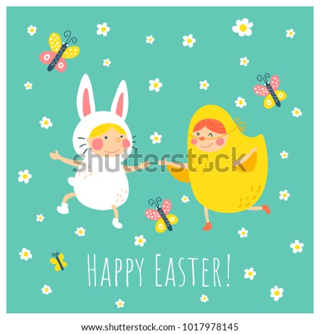Vector Easter Greeting Card Template Funny Stock Vector