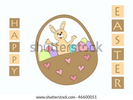 Vector easter greeting card with bunny and painted eggs in brown basket - stock vector