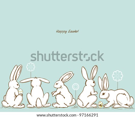 Vector Easter rabbits - stock vector