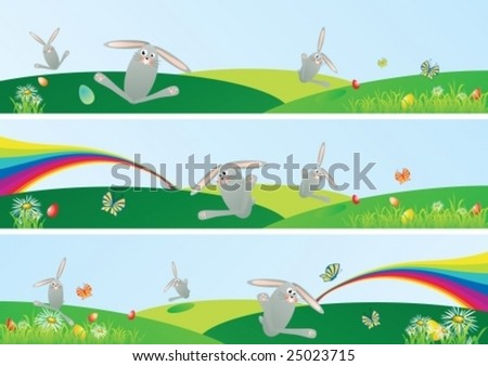 Vector Easter spring web banner set with space for your text