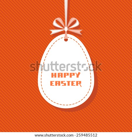 Vector Easter tag. Egg banner with ribbon and bow. Festive background. Decorative illustration for print, web - stock vector