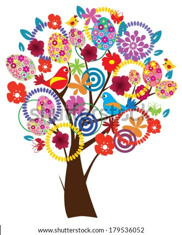 vector Easter tree beautiful with eggs, flowers, birds