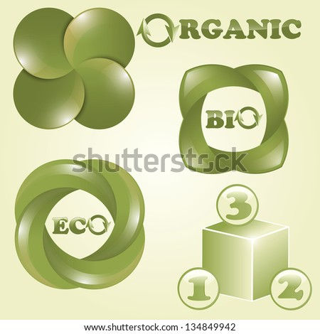 vector eco, bio, and organic labels, place for your data, fully editable eps 10 file,  transparency effects - stock vector