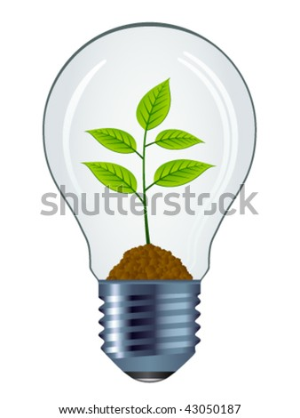 vector eco bulb isolated - stock vector