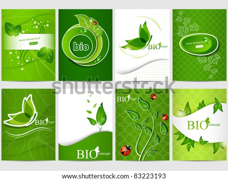 Vector eco design background set - stock vector