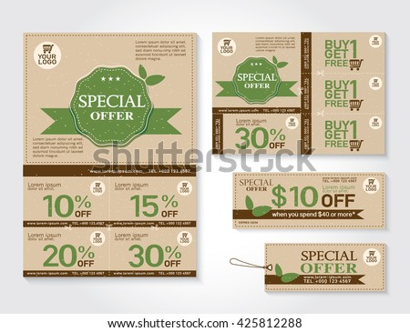 Vector Eco Flyer Brochure Promotions Coupon Stock Vector 425812288