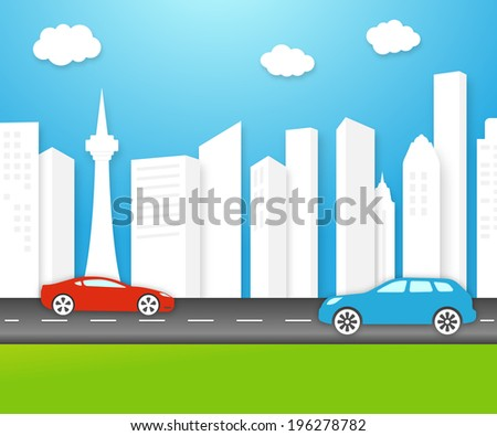 Vector eco-friendly city skyline with fresh clean white buildings under a sunny unpolluted blue sky with electric cars on the highway and lush green grass - stock vector