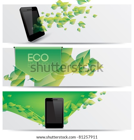 vector eco friendly website headers, smart phone promotion banners - stock vector
