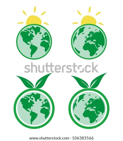 Vector eco icons. World globe isolated on white background with North and South America, Greenland, Africa, Europe and Asia. Planet Earth symbol or logo with green leaf or yellow sun for web design - stock vector
