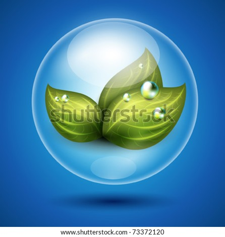 Vector eco illustration of green leaves under glossy sphere protection - stock vector
