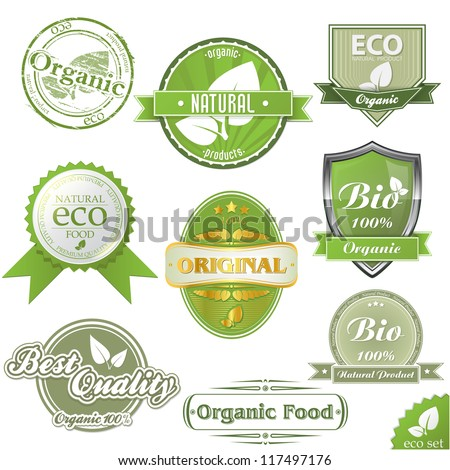 Vector ECO labels and stamps - stock vector