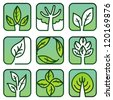 Vector eco labels - green nature signs - stock vector