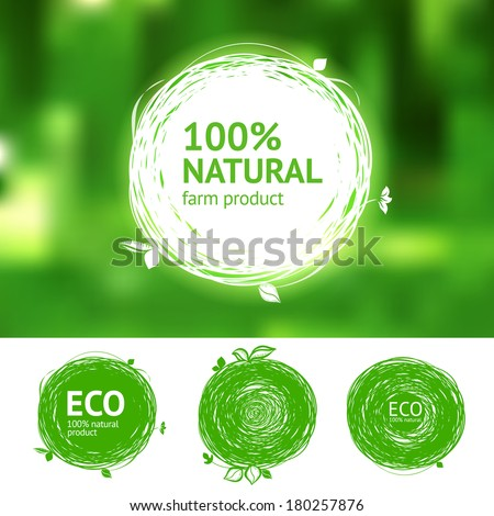 Vector eco labels with sketch drawing design elements - stock vector