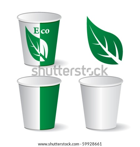 vector eco paper cups - stock vector