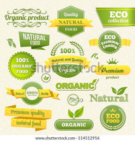 Vector Eco Stamps, Banners and Labels. Eco Style. - stock vector