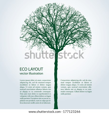 vector eco template with round trimmed tree