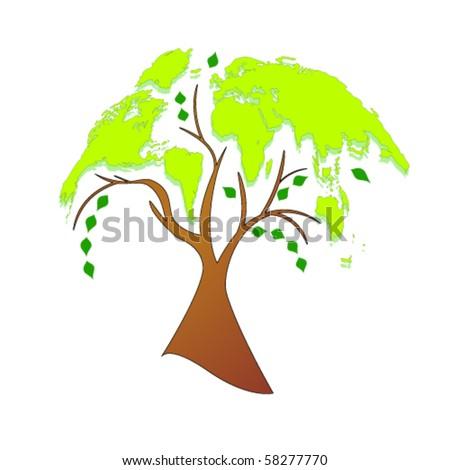 Vector eco tree (world map) - stock vector