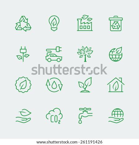 Vector ecological icon set - stock vector