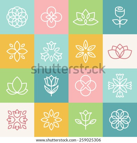 Vector ecology and organic logos in outline style - abstract design elements and signs - stock vector