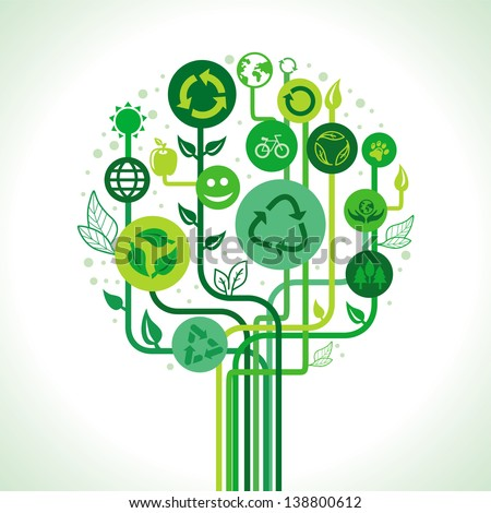 Vector ecology concept - abstract green tree with recycle signs and symbols - stock vector