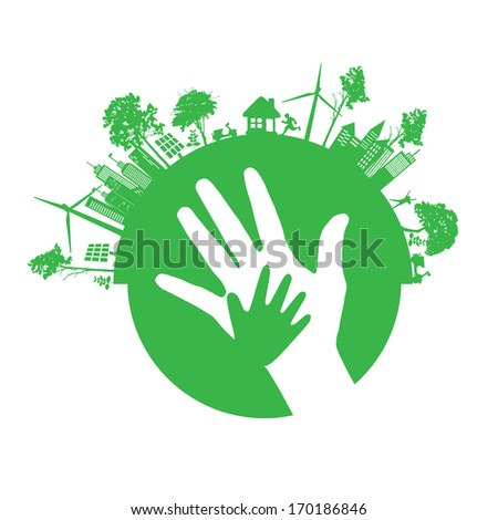 Vector ecology concept - hand design  - stock vector