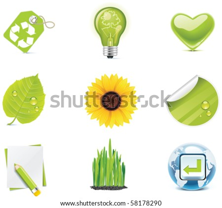 Vector ecology icon set. Part 4 - stock vector